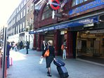 Russell Sq tube station is 2 mins and is on the direct line from Heathrow - no changing tube lines!