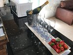 Complimentary summer Prosecco awaits guests during the hot summer