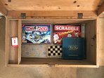 Section of traditional board and card games for guests -
