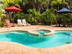 Your own private paradise with heated pool, spa, poolside dining and so close to the beach!