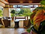 Lobby at the Beach Villas at Ko Olina, with seating under a large gazebo.