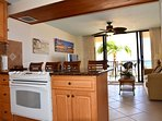 A view of the lanai from the kitchen of this makaha beach condo rental