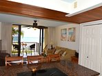 Looking Toward the Living Area from the Kitchen at this makaha beach condo rental