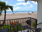 This makaha beach condo rental features a relaxing Lanai Right on the Beach