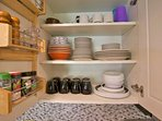 Dishware in Kitchen Cabinetry.