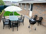 Private West / South west facing patio - a real sun trap. Weber barbecue.