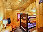 This room has a twin-over-twin bunk bed.