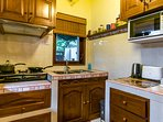 Fully equipped kitchen in the Guesthouse. With everything you need!