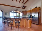 Fully stocked Kitchen with modern stainless steel appliances