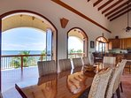 Dining area in upstairs great room - opens to cooling ocean breezes and 350 ft or private beach