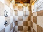 Master walk-in shower with dual shower heads