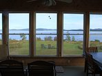 Sun porch with views of Acadia National Park.
