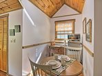 The 1-bedroom cabin features a kitchenette with a mini-fridge and microwave.