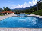 Amazing pool large enough for lap swiimming overlooking the rain forrest and the ocean!
