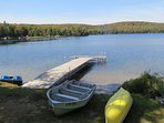 Cottage rental includes the use of a paddle boat, canoe and rowboat