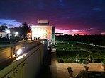 Meraviglioso tramonto fotografato a villa Panphili