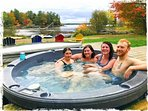 Life is bigger with fab sunset views from the lakeside hot tub, oooh ahhhh :)