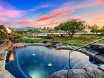 Sunset at Kolea lava rock hot tub