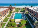 Large Heated Oceanfront Pool - steps to the beach (unit 206 is on the right)