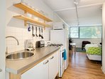 Fully Equipped Kitchen and Living Room - Short Term Apartment Atlanta - Cool Classic Studios On 25th