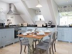 Coastal blues and greys in our fully equipped kitchen