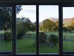 The view from the living area towards the Black Mountains