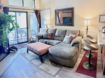 comfortable recliner couch with HD TV, fireplace, and fantastic views of Park City Mountain ski runs