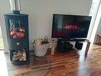 Log burning stove and Netflix