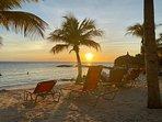 Romantic sunset on our beach. The best beach on Curacao.