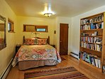 queen bed and bookcase