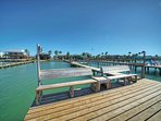 Plenty of seating on your private lighted fishing pier