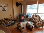 Cozy wood stove fire in living room
