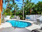 Seaside Villa - heated pool with loungers, tables/chairs and gas grills
