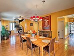 The home's interior is bright, warm, & welcoming.