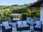 The sofas, the  swing, and the   deck chairs  (the terrace)