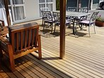 Back deck below apartment with BBQ