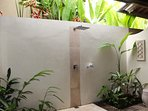 bathroom with outdoor aspect and shower