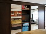 Build-in TV and DVD-player, and space to store your luggage