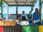 The Jerk Grill at  the Half Moon hotel, a 3-minute ride from Nianna