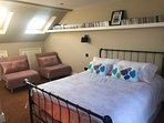 Bedroom 1 - The loft with en suite and roof terrace - with king bed + 2 sofa beds, if needed