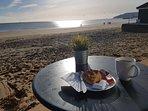 Morning coffee, Sandown in January