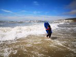 Surfing at Compton Bay