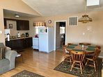 fully equipped kitchen and dining table, seats 6