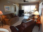 Living Room with sleeper sofa; love seat; TV; DVD player; Recliner.