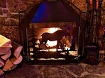 Wood burning fireplace if you want to make an indoor fire!