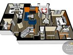 The Avalon Royal Paradise floor plan (1100 sq. ft.) 2 bedrooms, 4 beds, 2 baths