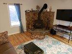 Wood stove & Sofa Bed
