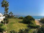 Extensive, stupendous gardens with beach access.