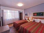 habitación con 2 camas, (1 de 2 plaza y la segunda de plaza y media) con vista área 30 M. cuadrados