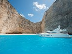Luxury yachts available for private tour in the most famous sightseeing in Zante
